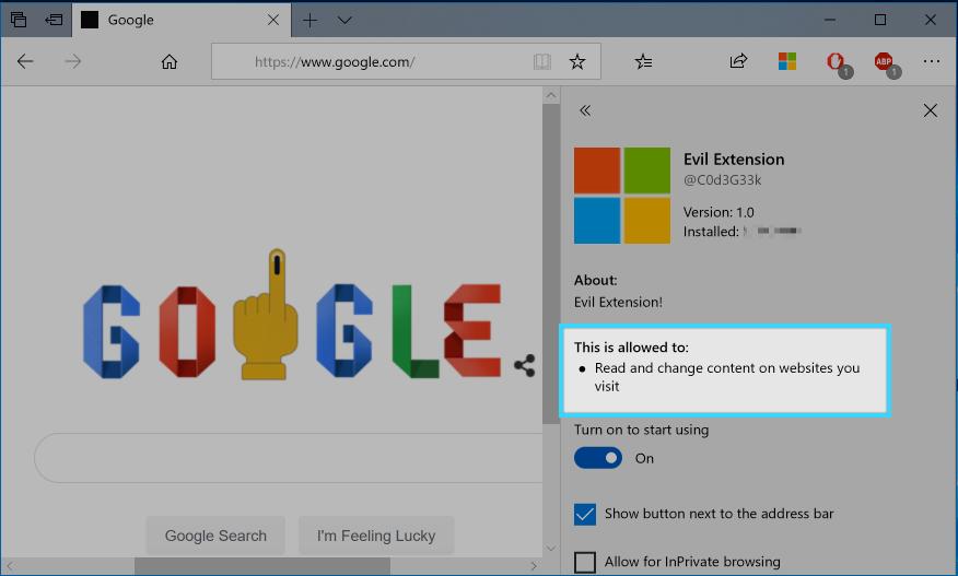 Microsoft Edge Extensions Host Permission Bypass (CVE-2019-0678
